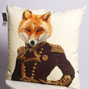 Other - Eclectic Beaded Military Fox Decorative Pillow